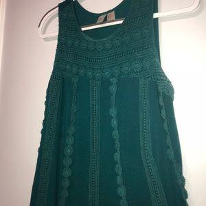 FOREVER 21 Green crochet shirt/tunic
